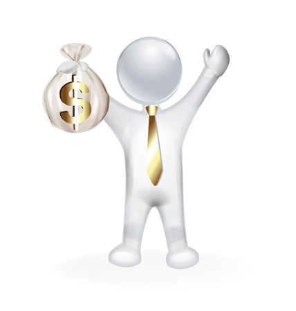 man holding money: 3D man holding money executive manager vector design