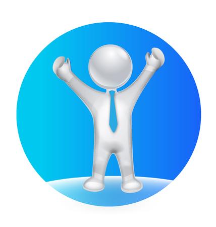 optimistic: 3D  optimistic man on the world vector icon