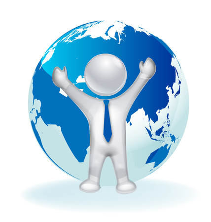 loan: 3D happy man and map world vector icon