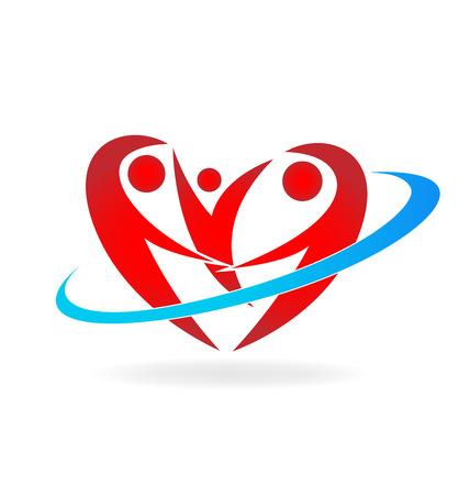 sitter: Heart family logo vector