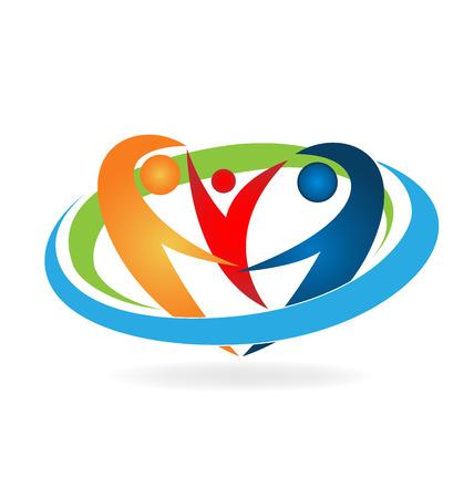 La familia feliz vector logo Logos