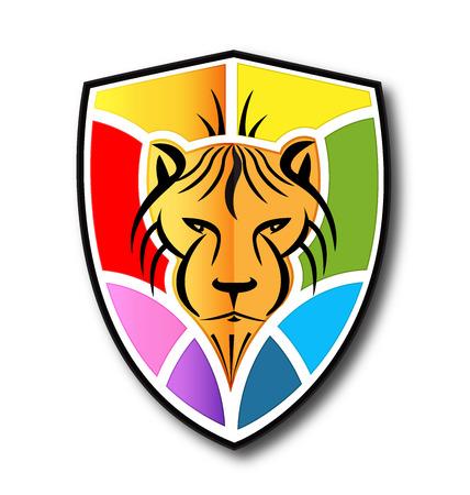 Lion shield logo vivid colors vector icon