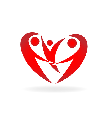 Heart family logo vector