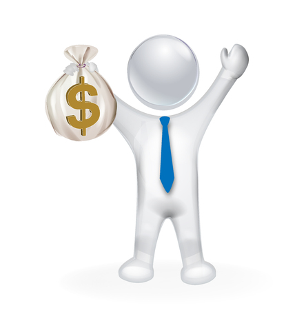 family and friends: 3D man holding money executive manager vector design