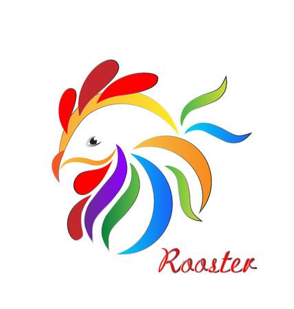aves de corral: símbolo del gallo icono de vector logo en colores vivos Vectores