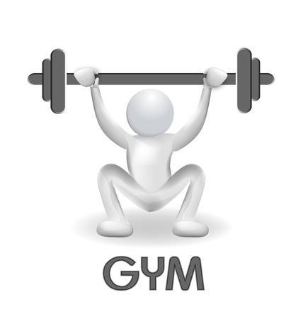 educacion fisica: 3D hombre de hacer ejercicio en el gimnasio levantando pesas