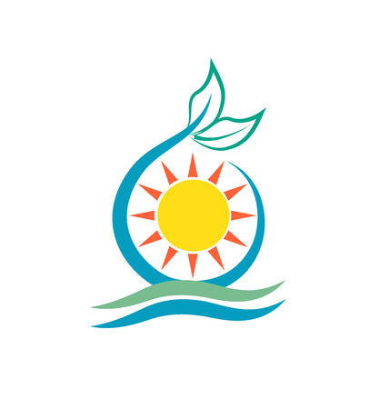 sunny: Leafs sun and waves logo vector icon