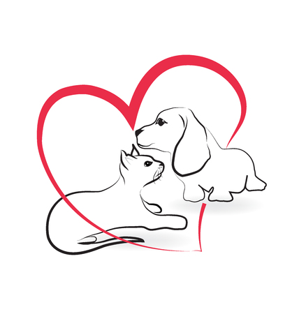 love image: Cat and dog love heart shape symbol vector image