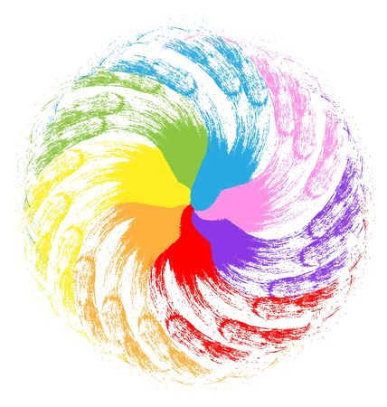 water stained: Abstract rainbow flower shape vector image