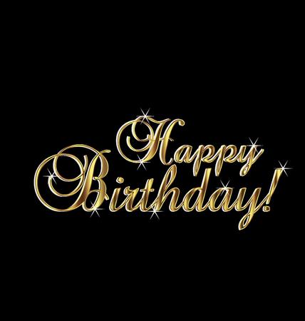 Happy birthday in gold elegant vintage Vectores