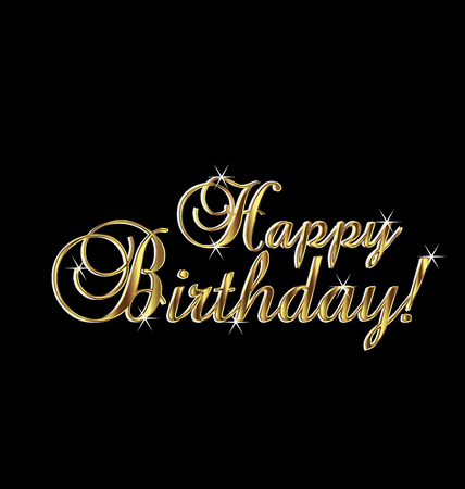 happy birthday 18: Happy birthday in gold elegant vintage Illustration