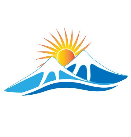 blue icon: Mountains ice with sun vector image logo design