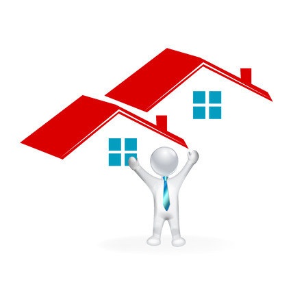 stock clip art icons: Real estate houses and happy 3D man closing a home sale image icon Illustration