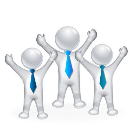 3D  happy successful people  vector image icon