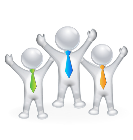 together voluntary: 3D  happy successful people  vector image icon