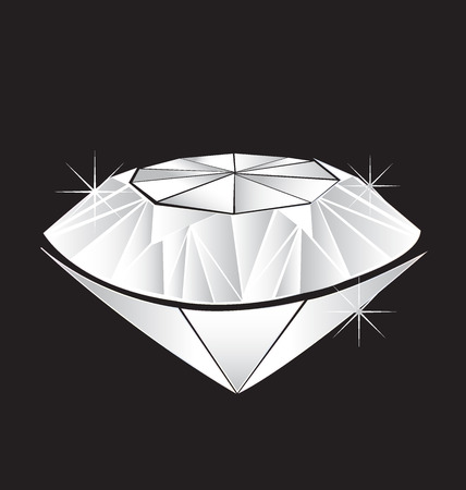 18k: White diamond Wedding symbol vector image Illustration