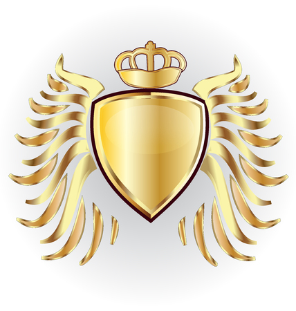 Gold shield crown and wings vector image