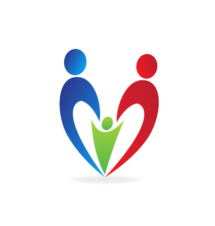 together voluntary: Family love heart logo vector symbol Illustration