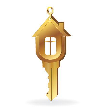 joyas de oro: Casa de diseño de logotipo vector de oro clave