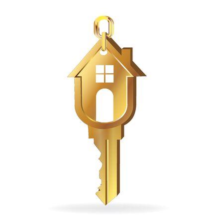 house keys: House key gold logo vector image