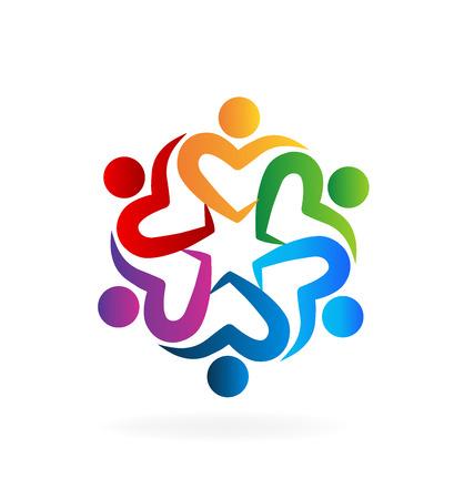 Travail d'équipe gens aiment coeur logo vecteur image Logo