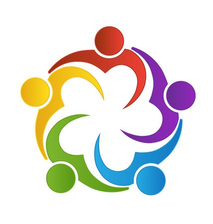 Teamwork van liefde hart mensen logo vector