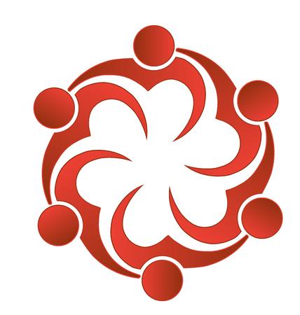 figures: Teamwork love heart people logo image vector Illustration