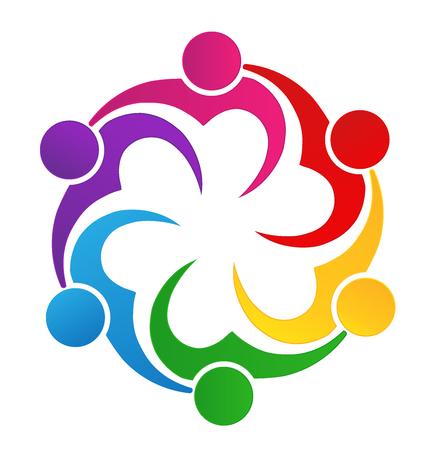 Teamwork love heart people logo image vector Illustration