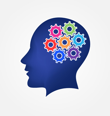 Brain and gears concept of ideas logo vector