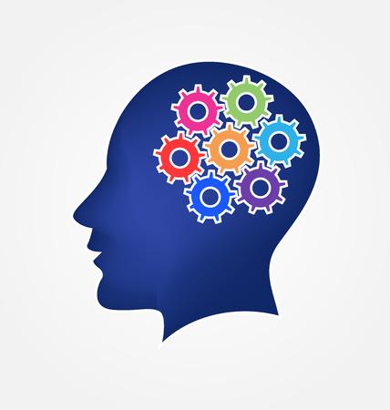 pensamiento creativo: Cerebro y engranajes concepto de logotipo de las ideas del vector
