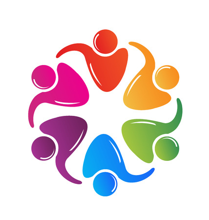 Teamwork hugging people logo image vector