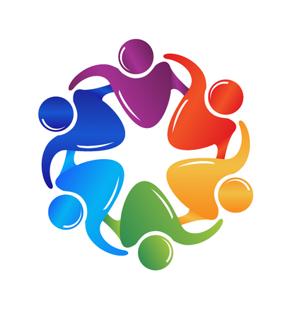flower  hand: Teamwork hugging people logo image vector