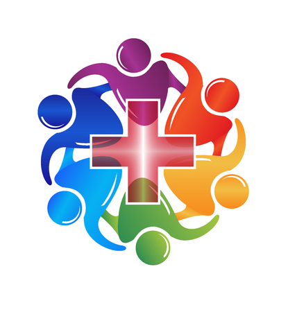 Teamwork medical people logo image vector