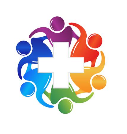 El trabajo en equipo personal médico imagen del logotipo del vector