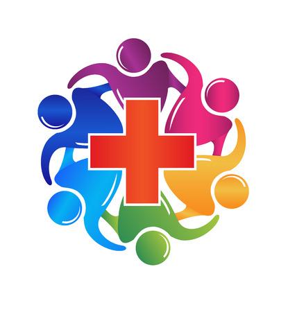 Teamwork medische mensen het logo vector