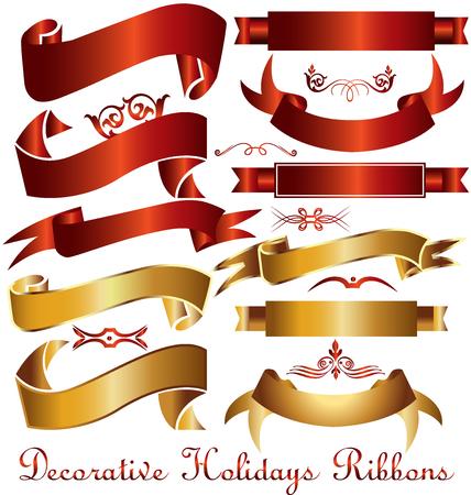 leafs: Ribbon holidays decoration