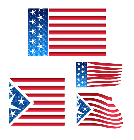 old frame: USA set of flags Illustration