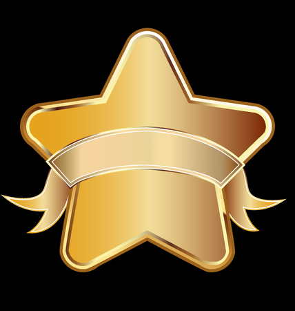 Golden star with ribbon vector icon