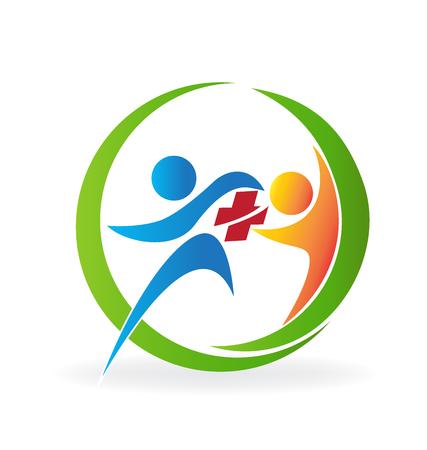 Teamwork medical people logo vector image Illustration