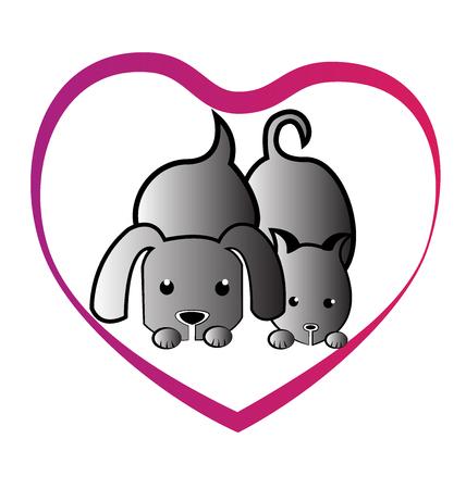 puppies: Cat dog love heart