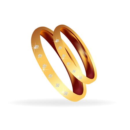joyas de oro: Los anillos de boda bling bling Vectores