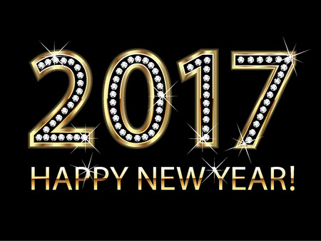 happy people white background: Happy new year 2017 gold background vector Illustration
