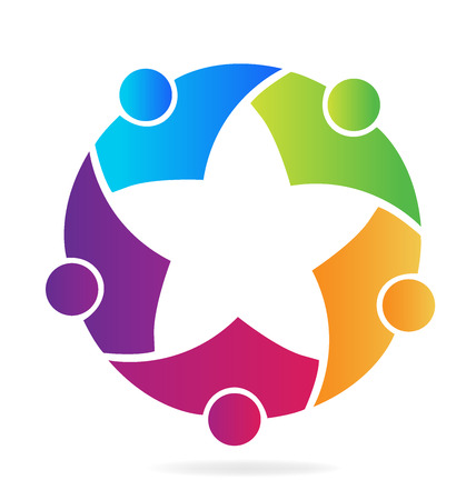 star: Teamwork people star shape logo vector image