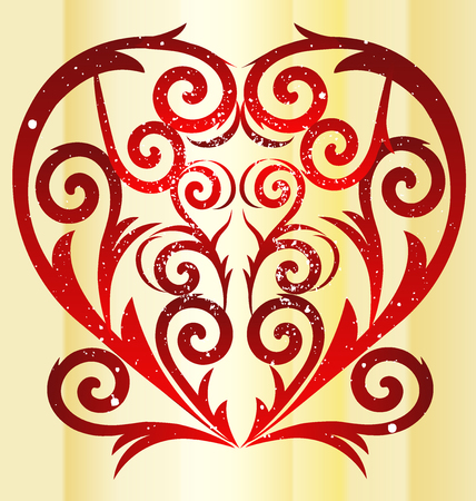 golden texture: Love red heart swirly vintage icon vector image