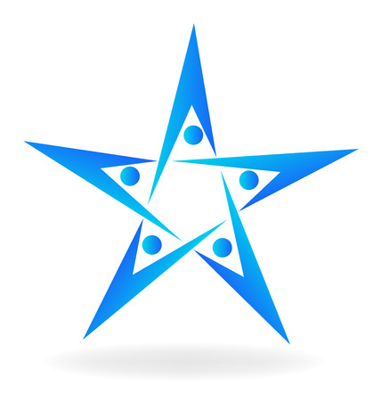 Teamwork people star shape icon logo vector image