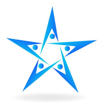 together voluntary: Teamwork people star shape icon logo vector image Illustration