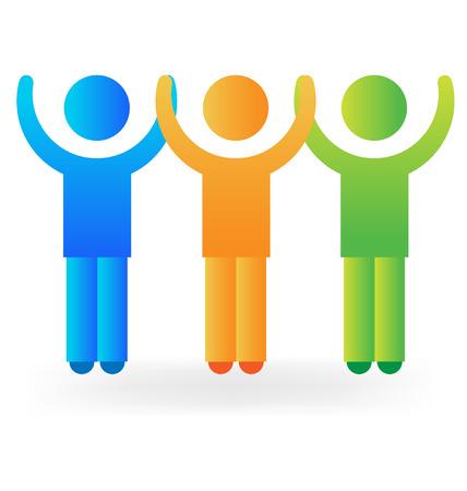 people holding hands: People holding hands concept of friendship logo vector image Illustration
