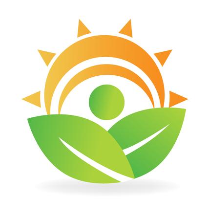 Health nature leafs energy logo vector