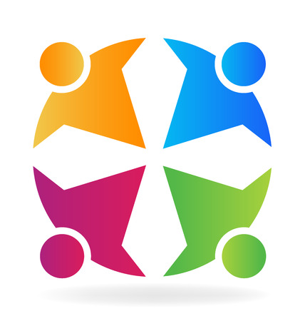 medical worker: Teamwork colorful people with cross shape image vector logo Illustration