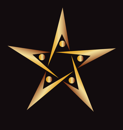 swooshes: Teamwork people golden  star shape icon logo vector image